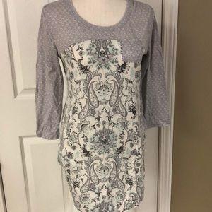 Super soft night gown! Gray & cream paisley!